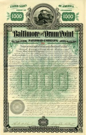 Baltimore and Drum Point Railroad - $1,000 Bond
