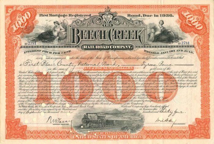 Beech Creek Railroad Company - $1,000 - Bond