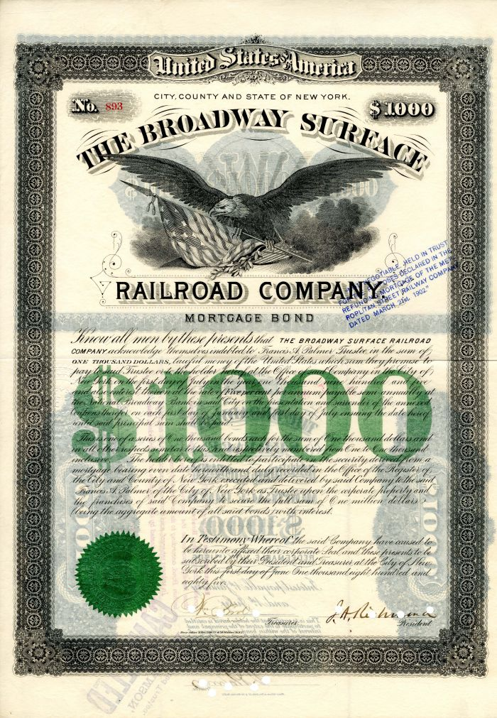 Broadway Surface Railroad Company - New York City - Bond