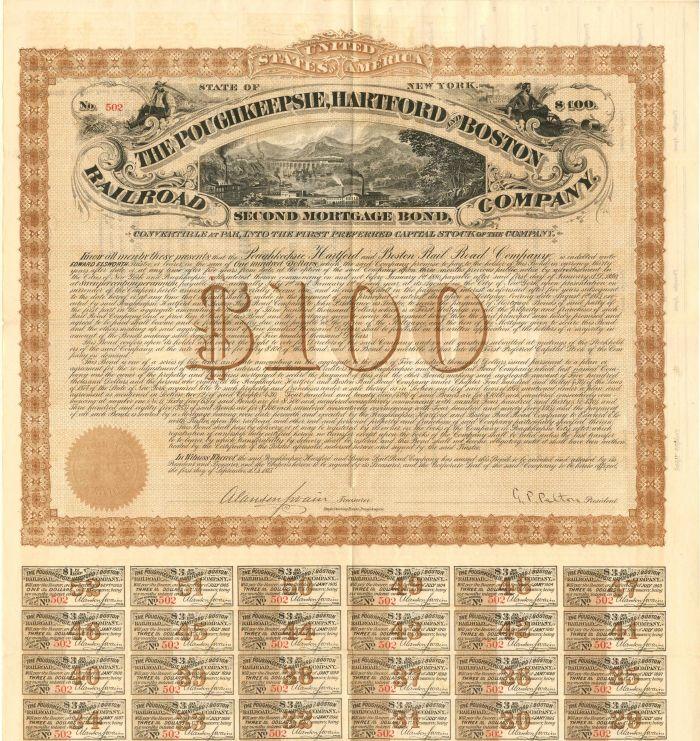Poughkeepsie, Hartford and Boston Railroad Company - Various Denominations - Bond