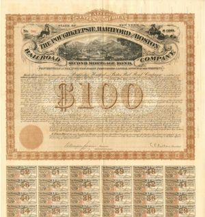 Poughkeepsie, Hartford and Boston Railroad Company - Various Denominations - Bond