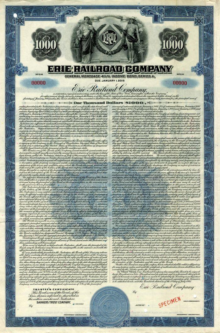 Erie Railroad Company - Specimen Bond