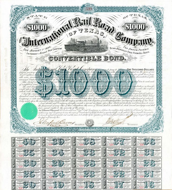 International Rail Road Company of Texas $1,000 Uncanceled Bond signed by Galusha Grow