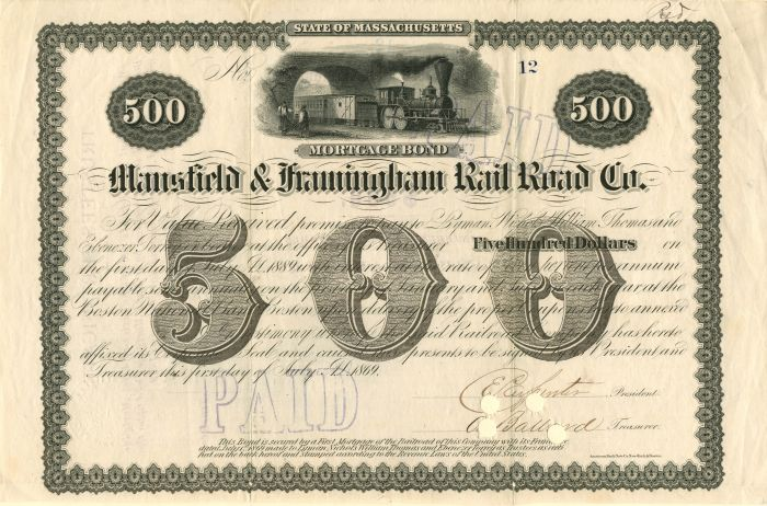 Mansfield & Framingham Rail Road Co. - $500 Bond