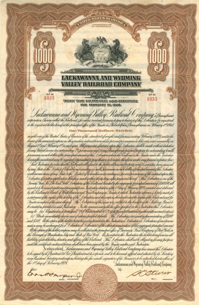 Lackawanna and Wyoming Valley Railroad Company - $1,000 Bond