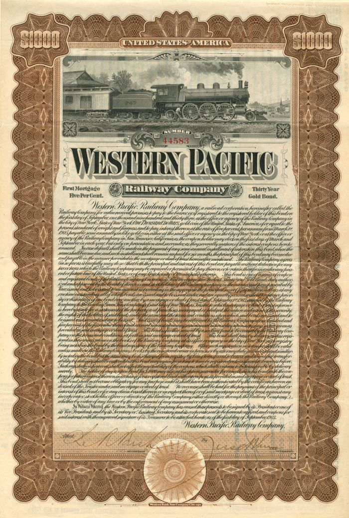 Western Pacific Railway Company - $1,000 Bond - SOLD