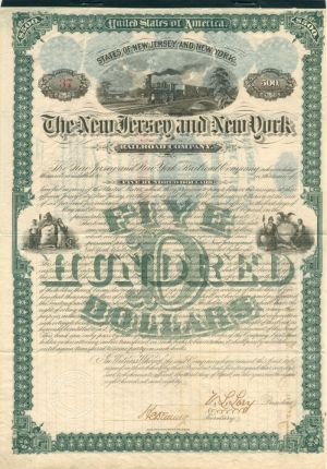 New Jersey and New York Railroad Company - $500 Bond