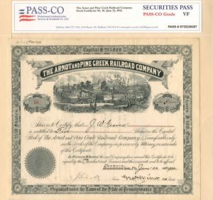 Arnot and Pine Creek Railroad Company                            - Stock Certificate - SOLD