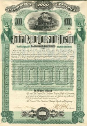 Central New York and Western Railroad Company - $1,000 - Bond