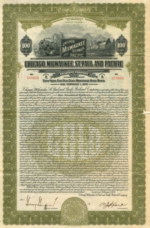 Chicago, Milwaukee, St. Paul and Pacific Railroad Company - $100 - Bond - SOLD