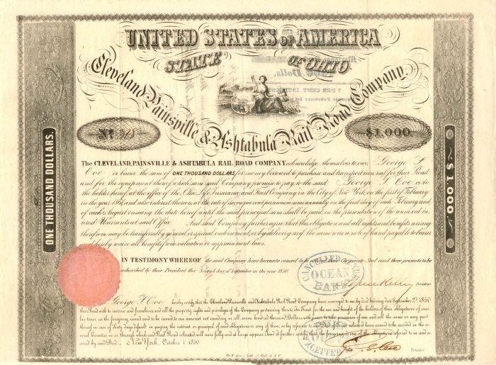 Cleveland, Painsville & Ashtabula Rail Road Company - $1,000 - Bond