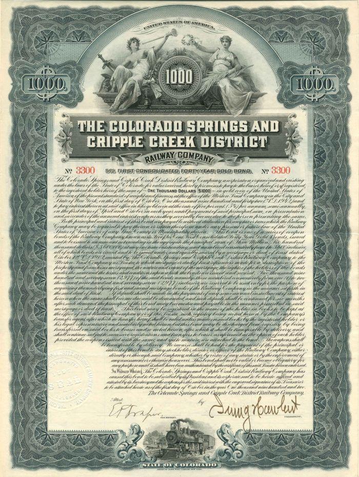 Colorado Springs and Cripple Creek District Railway Company - $1,000 - Bond - SOLD
