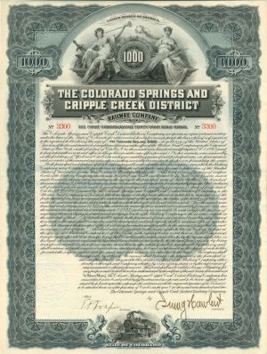 Colorado Springs and Cripple Creek District Railway Company - $1,000 - Bond - SOLD