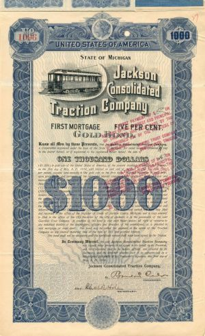 Jackson Consolidated Traction Company - $1,000 - Bond