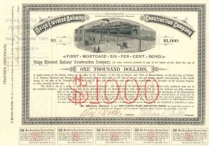 Meigs Elevated Railway Construction Company - $1,000 - Bond - SOLD