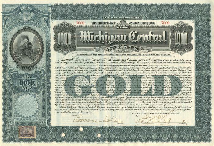 Michigan Central Railroad Company - $1,000 - Bond