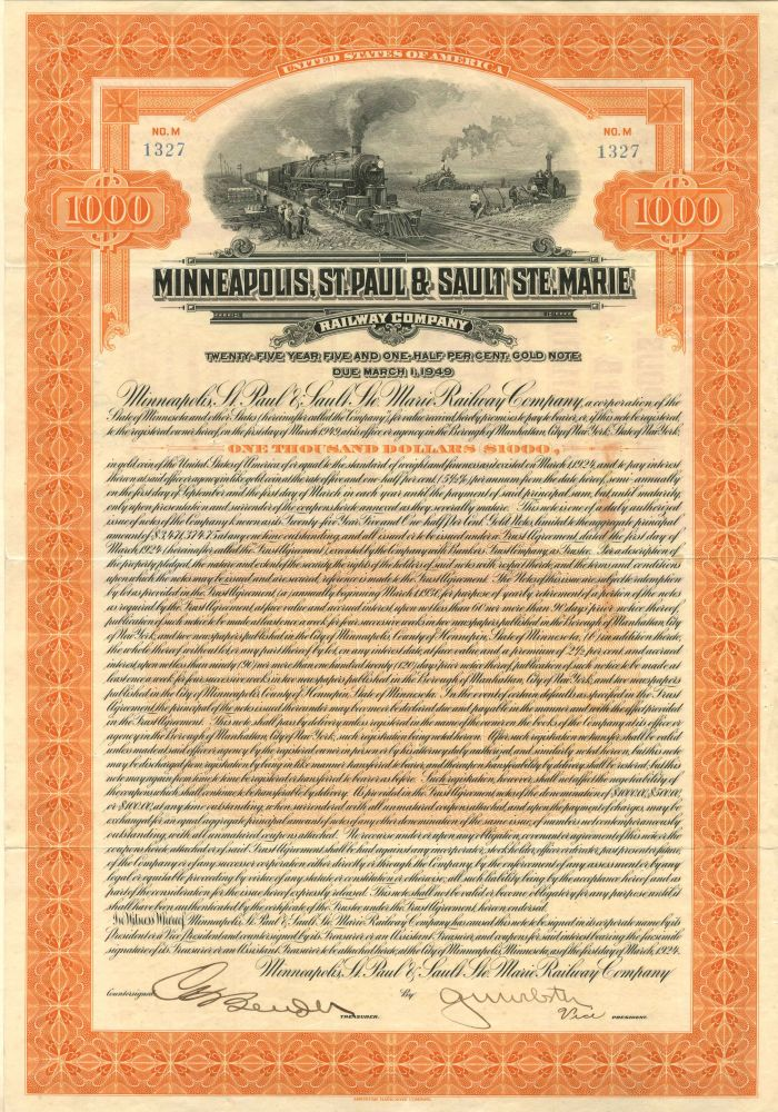 Minneapolis, St. Paul & Sault Ste. Marie Railway Company - $1,000 - Bond - SOLD