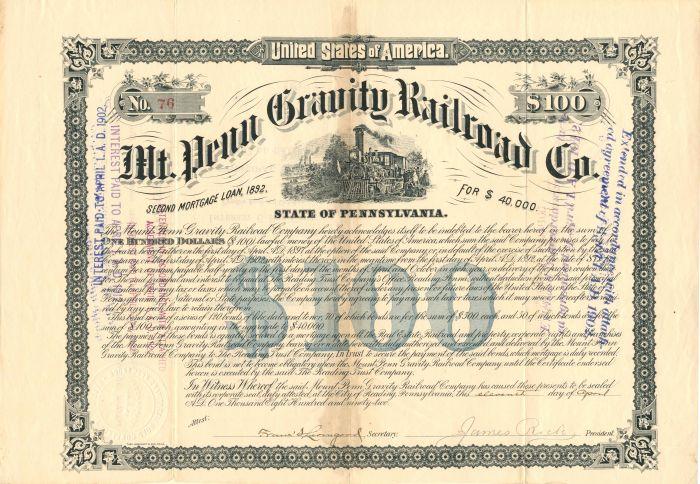 Mt. Penn Gravity Railroad Co. - $100 - Bond
