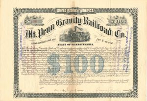 Mt. Penn Gravity Railroad Co. - $100 - Bond - SOLD