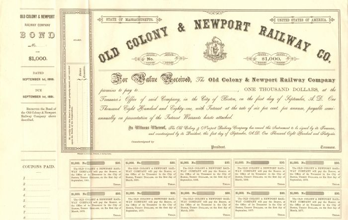 Old Colony & Newport Railway Co. - $1,000 - Bond