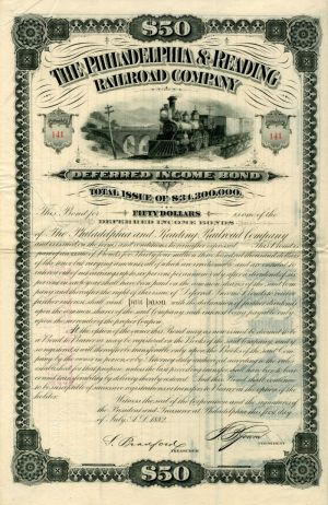 Philadelphia & Reading Railroad Company - $50 - Bond