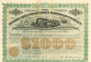 Pueblo and Arkansas Valley Railroad Company - $1,000 - Bond