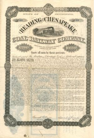 Reading and Chesapeake Coal and Railway Company - $1,000 - Bond