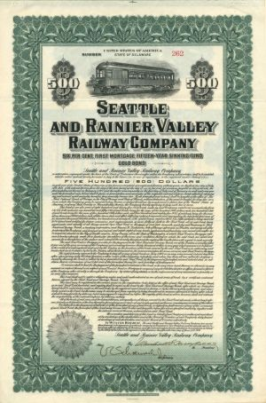 Seattle and Rainier Valley Railway Company - $500 - Bond