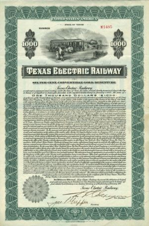 Texas Electric Railway - $1,000 - Bond