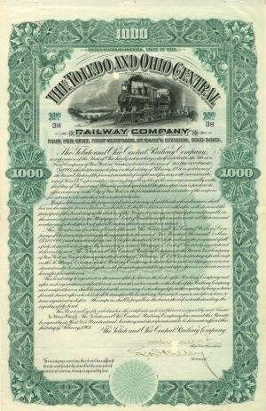 Toledo and Ohio Central Railway Company - $1,000 - Bond