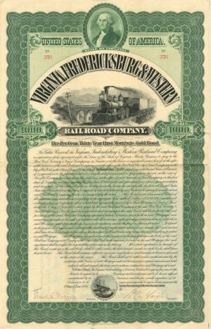 Virginia, Fredericksburg & Western Railroad Company - $1,000 - Bond - SOLD