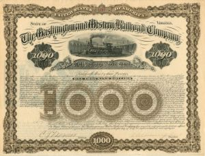 Washington and Western Railroad Company - $1,000 - Bond