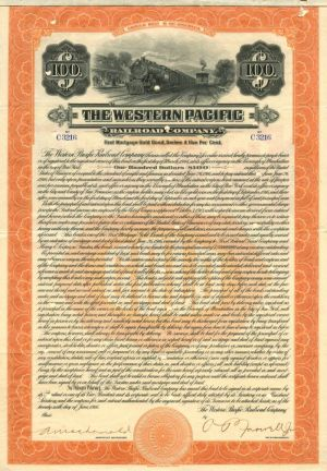Western Pacific Railroad Company - $100 Bond