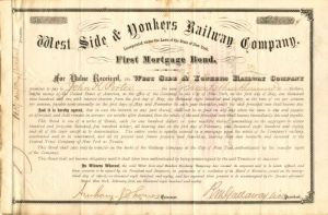 West Side & Yonkers Railway Company - Various Denominations - Bond