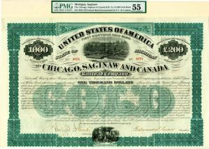 Chicago, Saginaw and Canada Railroad Company - $1,000 - Bond