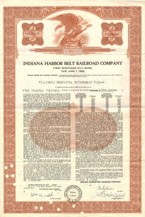 Indiana Harbor Belt Railroad Company - Certificate #R1 - Bond