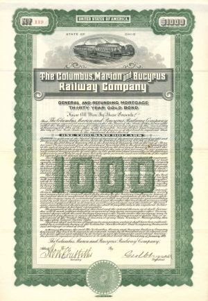 Columbus, Marion and Bucyrus Railway Company - $1,000 - Bond
