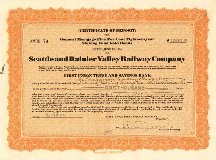 Seattle and Rainier Valley Railway Company - $1,000 - Bond - SOLD