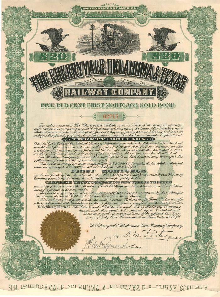 Cherryvale Oklahoma & Texas Railway Company - $20 - Bond