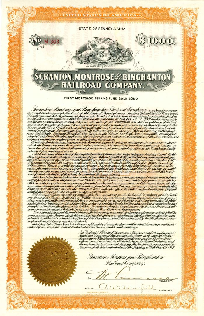 Scranton, Montrose and Binghamton Railroad Company - Various Denominations - Bond