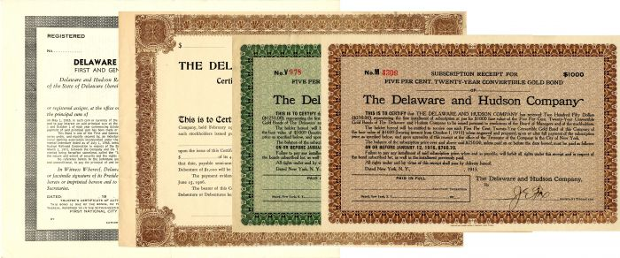 Set of 4 Different Delaware and Hudson Company Bonds