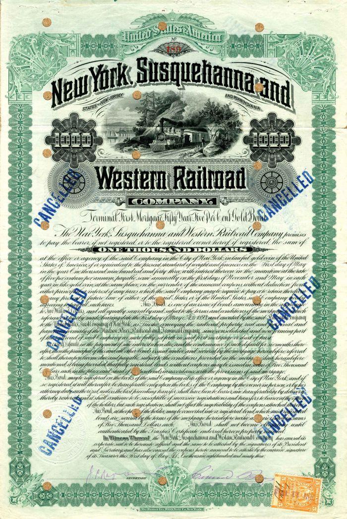 New York, Susquehanna and Western Railroad Company - $1,000