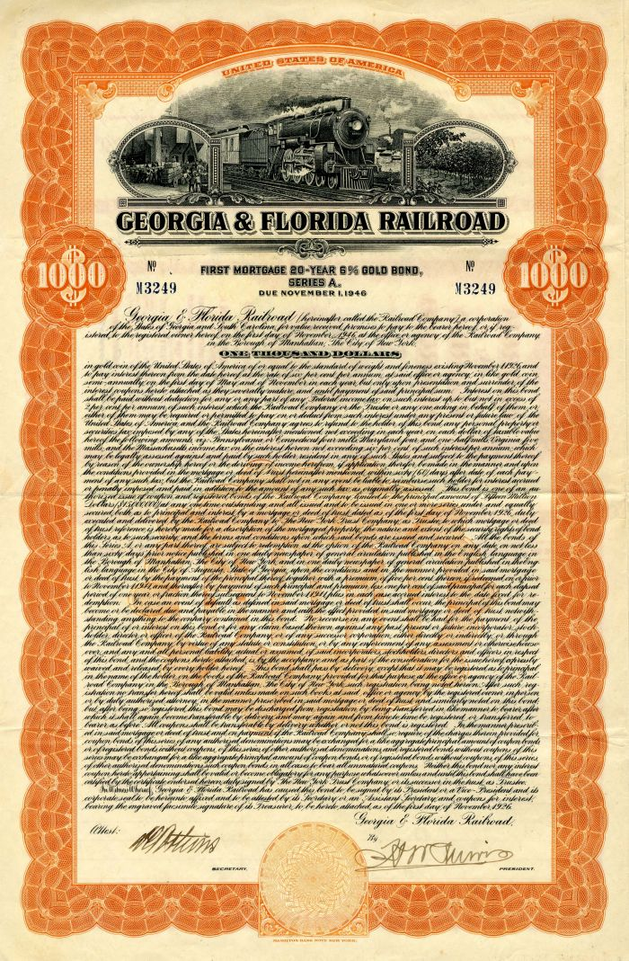 Georgia & Florida Railroad - $1,000