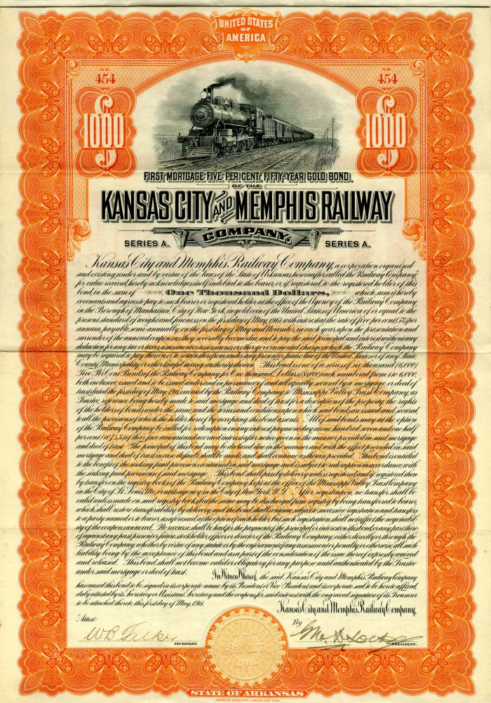Kansas City and Memphis Railway Company - $1,000 - SOLD