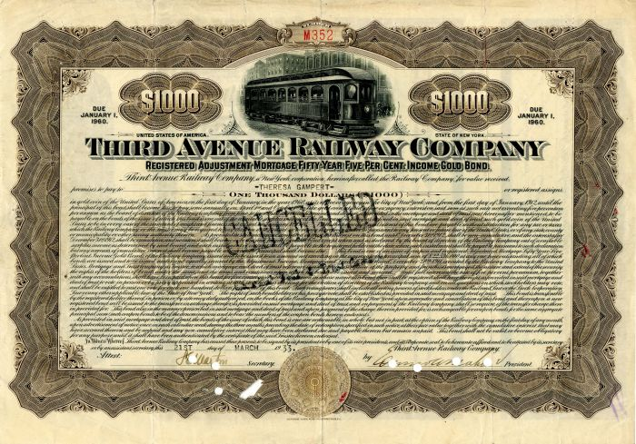 Third Avenue Railway Company -  New York City -$1,000 Bond