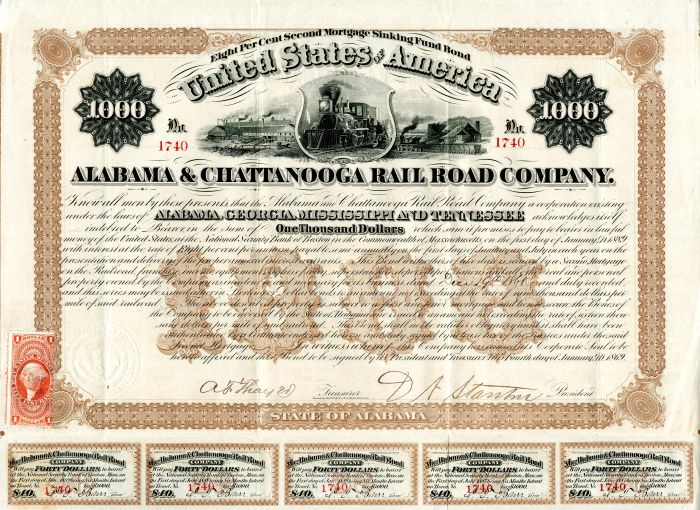 Alabama & Chattanooga Rail Road Company - $1,000