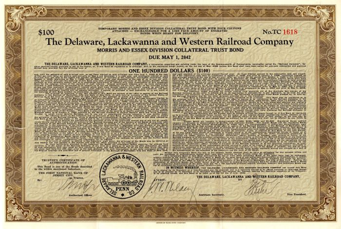 Delaware, Lackawanna and Western Railroad Company - $100
