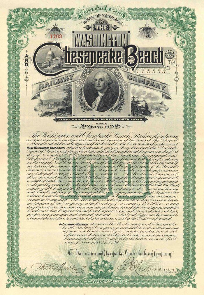 Washington and Chesapeake Beach Railway - $100 Bond