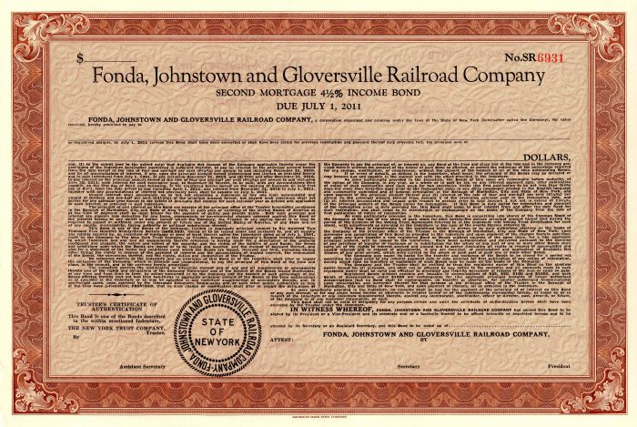 Fonda, Johnstown and Gloversville Railroad Company - SOLD