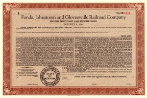 Fonda, Johnstown and Gloversville Railroad Company - SOLD